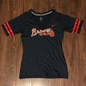 Nike MLB Dark Blue Atlanta Braves V Neck Tee
